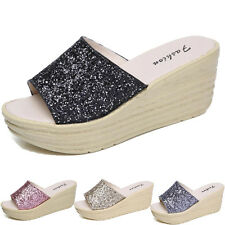Women Ladies Slide Slip On Wedge Platform Slipper Flats Sandals Open Toe Shoes H