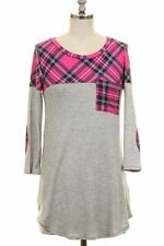 NWT~BOUTIQUE~PINK PLAID~POCKET~TOP/TUNIC~PLUS~2X, 3X~SALE