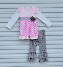 Girls Pink Gray Black Polka Dot Damask Ruffle Boutique Outfit Pants Set 2T-6