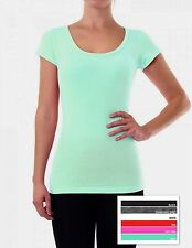 Womens Fitted Cotton Blend Short Sleeve Scoop Neck Tee T Shirt - Choose Color