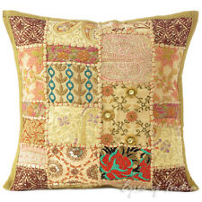 "16"" Brown Decorative Patchwork Sofa Throw Cushion Pillow Cover Bohemian Boho Ind"
