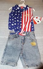 APPLE BOTTOMS GIRLS 4th Of July Toddler 2 Piece Outfit Set, Patriotic, 2T 3T 4T