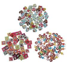 50pcs Mixed Color Wooden Buttons Scrapbooking Sewing Crafting DIY Decoration