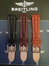 Genuine Leather Padded Watch Straps Suitable For Breitling Calf and Croc Effect