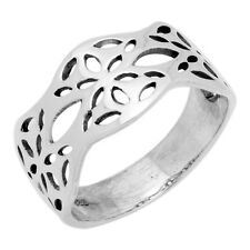 Sterling Silver Wavy Cut out Flower Band Ring
