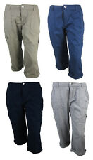 Brand New Ex-Branded Ladies Roll up Cargo Trousers Holidays/Summer/Cotton/