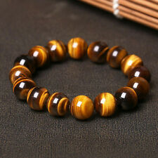 AAA+ Natural Tiger Eye Stone Round Beads Stretchy Bracelet Men Bangle Jewelry