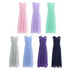 Kids Flower Girls Chiffon Princess Long Dress Party Wedding Formal Prom Gown