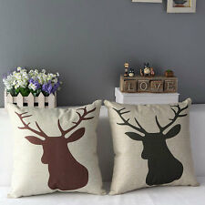 "17"" Cotton Linen Animal Deer Home Decorative Throw Pillow Case Cushion Cover"