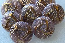 "5523 - BEAUTIFUL SET (8) VINTAGE CZECH OLD GLASS 7/8"" 24k GOLD LAVENDER BUTTONS"
