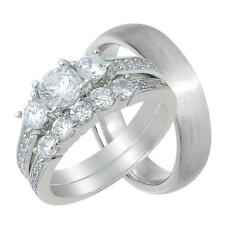 His and Hers CZ Engagement Wedding Ring Set for Him and Her Matching 3 Pieces
