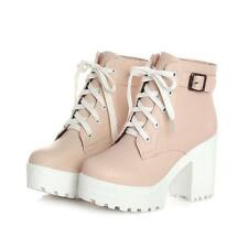 chunky heel round toe platform lace-up punk goth creeper ankle boots shoes RMB 2