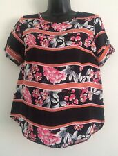 NEW Ex High-street: Black Orange Blossom Chiffon Casual Blouse Tee Top Size 8-18