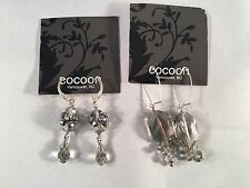Cocoon Silver Gray Toned Faceted Dangle Pierced Earrings, Lot of 2 Sets
