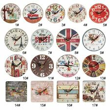 Artistic Silent Creative European Style Round Antique Wooden Home Wall Clock NJ