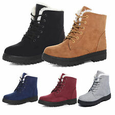 Fashion Womens Winter Warm Fur Lined Martin Boots Flat Lace Up Snow Ankle Shoes