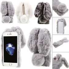 Cute Bunny Shape Warm Furry Rabbit Fur TPU Soft Case Cover For iPhone X/7/8 Plus