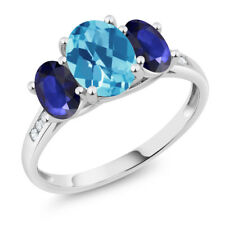 10K White Gold 2.20 Ct Checkerboard Swiss Blue Topaz Blue Sapphire 3-Stone Ring