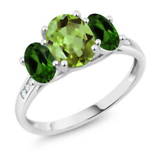 10K White Gold 2.23 Ct Oval Green Peridot Green Chrome Diopside 3-Stone Ring