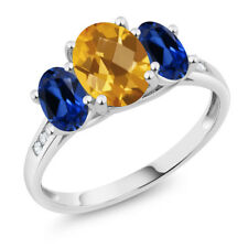 10K White Gold 2.25 Ct Checkerboard Citrine Blue Simulated Sapphire 3-Stone Ring