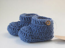 Baby booties button strap Blue slip on handmade crochet knit Newborn,0-3,3-6 USA