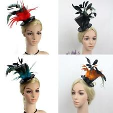 Vintage 1920s Gatsby Sequin Feather Party Top Hat Clips Charleston Fascinator