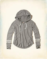 Abercrombie & Fitch – Hollister Womens Textured Fleece Hoodie Tee L Grey NWT