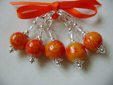 Hand Beaded Sunset Round Stitch Markers for Knitting or Crochet