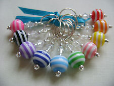 Hand Beaded Acrylic Stripe Stitch Markers for Knitting or Crochet