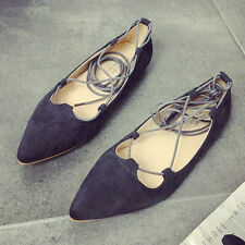 Womens Flats Lace Up Dolly Ballet Shoes Ladies Ballerina Pumps Casual Size New