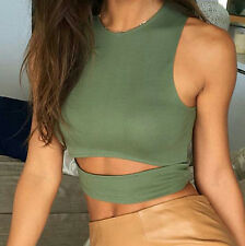2017 Fashion Summer Women's Sexy sleeveless Tear hollowed bare midriff Crop Tops