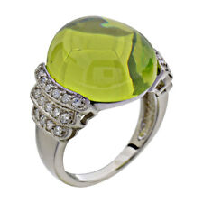 Sterling Silver Round Cabochon Green CZ Jewelry Women Wedding Engagement Ring