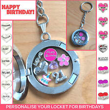 BIRTHDAY GIFT PERSONALISED FLOATING MEMORY LOCKET KEYRING 16TH 18TH 21ST ANY AGE