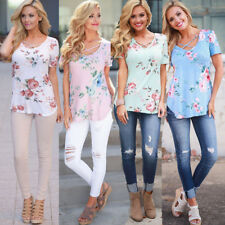 Women's Ladies Summer Boho Floral T Shirt Tops Shirts Loose Casual Blouse Tee