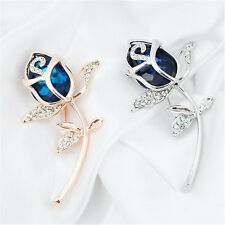 1Pcs Brooches Gift Rose Flower Crystal Rhinestone Brooch Clothing Alloy