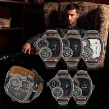 Oulm Men Quartz Wrist Watch Compass Function PU Leather Band Outdoor Gift VE