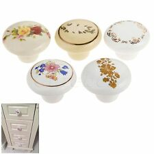 European Rustic Pull Ceramic White Knobs Cabinet Drawer Dresser Door Handle 2C8B