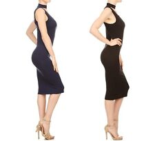 Solid Black Navy Rib Knit Bodycon Fitting Dress with Mock Neck & Keyhole DR9713