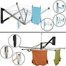 WALL MOUNTED 26-30M FOLDING CLOTHES AIRER DRYER WASHING LINE IN/OUTDOOR GARDEN