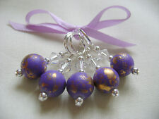Hand Beaded Purple Gold Dust Stitch Markers for Knitting or Crochet