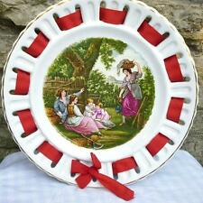 "Fenton, Staffordshire, Vintage Ribbon Plate Canal/Barge/Narrowboat 9"" Red Ribbon"