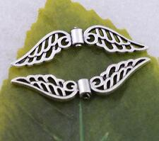 Wholesale 10pcs/50pcs tibet silver Angel Wing charms spacers beads 31x8mm #5586