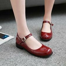 Womens Patent Leather Cuban Low Heels Ankle Strap Oxfords Mary Janes Size 56789X