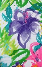 Watercolor Tropical Flowers Abstract Vinyl Flannel Back Tablecloth-Various Sizes