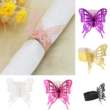 50 Shiny Paper Butterfly Napkin Ring Holder Wedding Party Paper Serviette Buckle