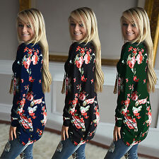 Womens Floral Irregular Cardigans Loose Casual Coat Long Tops Outwear Plus Size