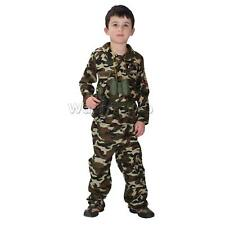 Cool Kid Boys Army Soldier Costume Suit Party Fancy Dress Outfit M-XL