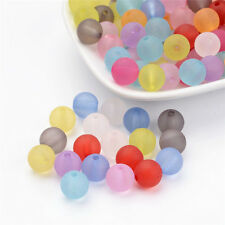 Mixed Color Transparent Acrylic Beads Round Frosted Loose Bead Craft Pick 6~14mm