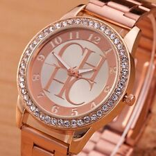 New Charming Lady Stainless Steel Crystal Dial Quartz Analog Luxury Wrist Watch
