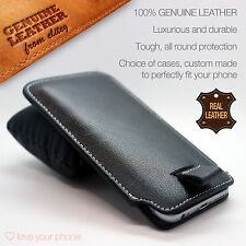 Genuine Leather Luxury Pull Tab Flip Pouch Sleeve Phone Case Cover✔QMobile